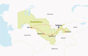Routekaart in Oezbekistan