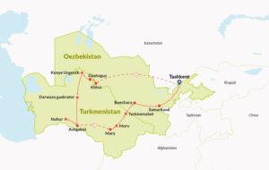 Routekaart in Centraal-Azië