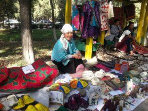 Marktkoopvrouw in Kirgizië